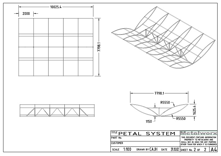 6C Aerofoil-shapped banner system CAD drawing by Metalworx