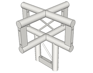 LADDER TRUSS 4-WAY VERTICAL (UPRIGHT) JUNCTION WITH LEG